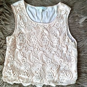 Cream lace front top size 10 forever new